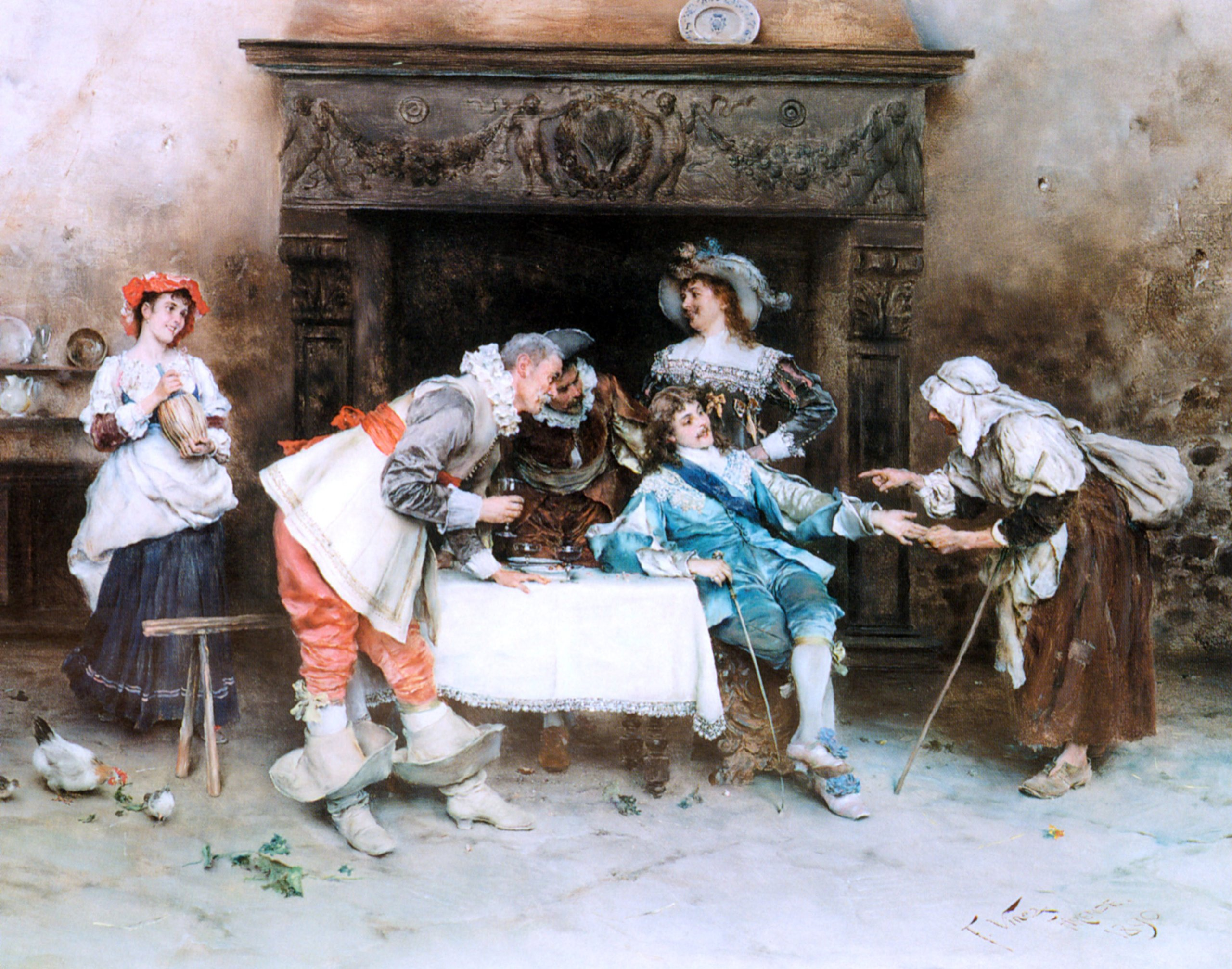 Francesco Vinea Good Health and Good Fortune - 24'' x 30'' 100% Hand Painted Oil Painting Reproduction