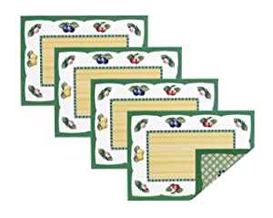 """Villeroy and Boch French Garden Cotton Fabric Reversible Placemat (Set of 4) 14""""x20"""" Linens"""