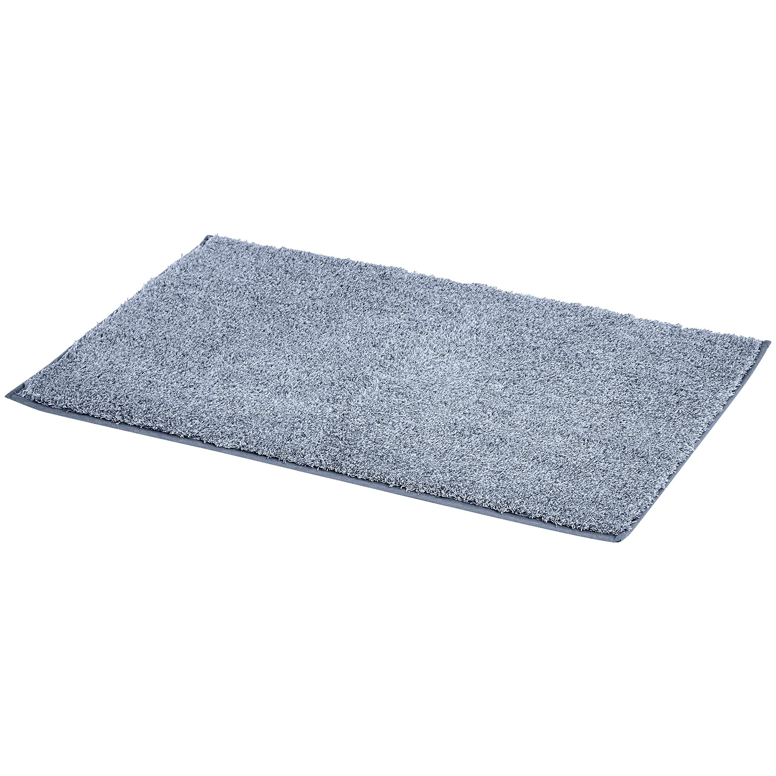 AmazonBasics Plush Melange Sculpted Bath Mat - Light Blue, 3-Size Set