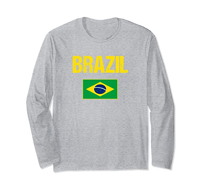 Amazon.com: Brazil Long Sleeve T-shirt Brazilian Flag - Men/Women/Youth: Clothing