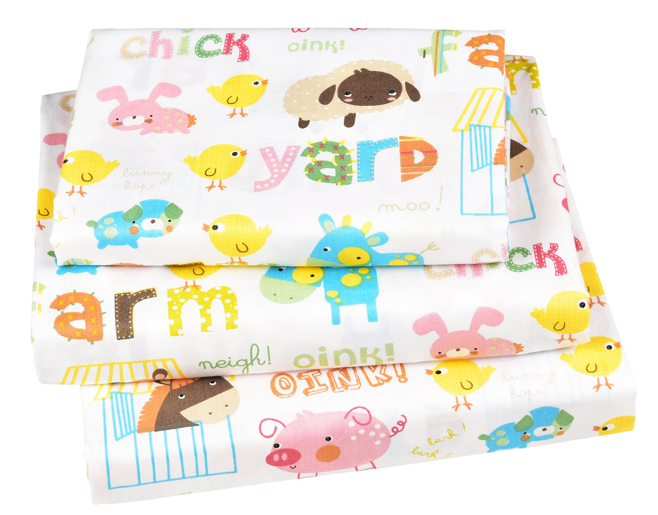 J-pinno Farm Animals Pig Horse Chick Sheep Donkey Twin Sheet Set for Kids Boys Girls Children,100% Cotton, Flat Sheet + Fitted Sheet + Pillowcase Bedding Set