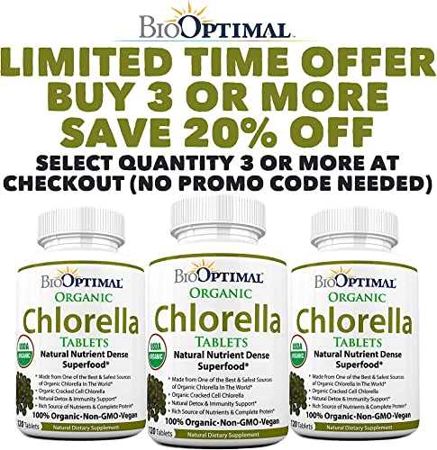 BioOptimal Chlorella, Organic Chlorella Tablets, 100 USDA Organic, Premium Quality 4 Organic Certifications, Non-GMO, No Additives Capsules Or Fillers,120 Count