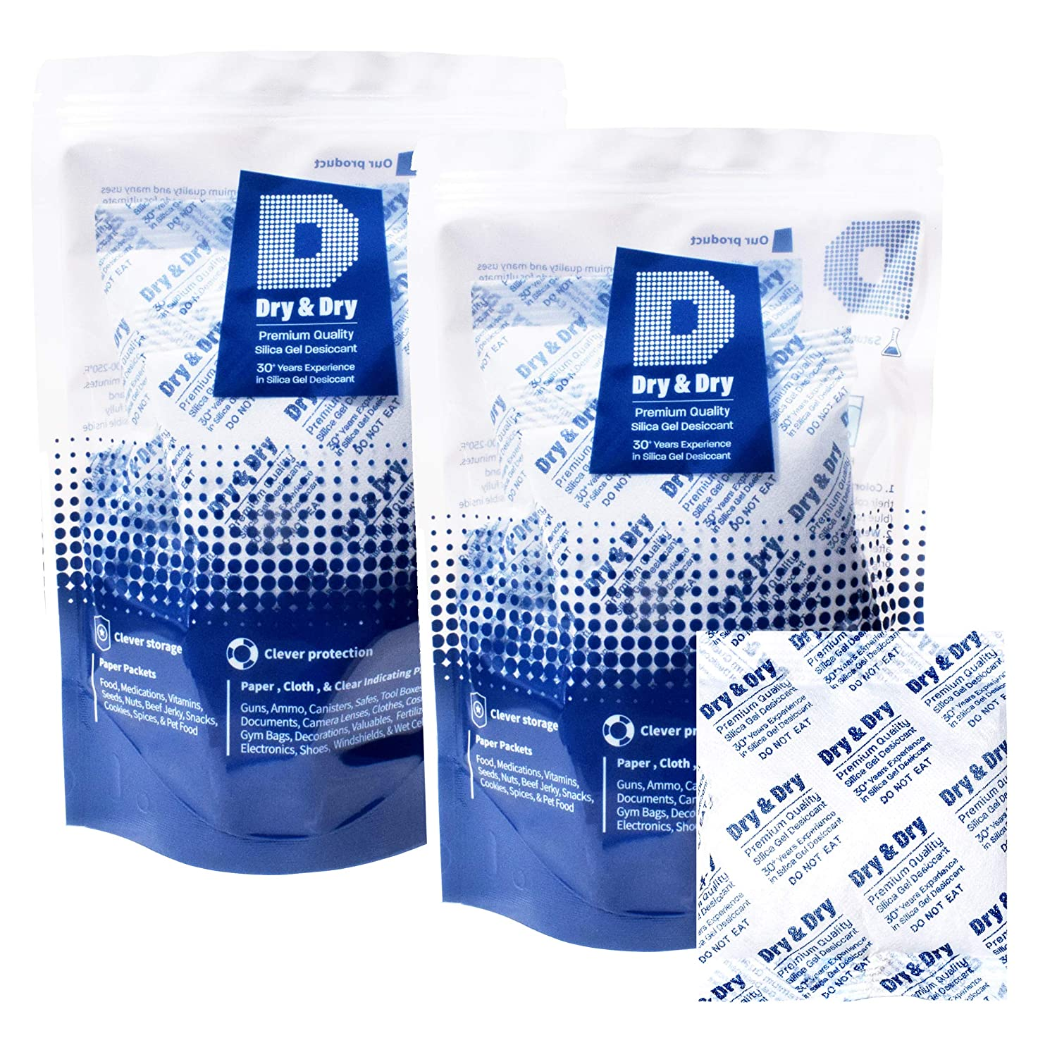Dry & Dry 50 Gram [20 Packs] Silica Gel Premium Pure & Safe Silica Gel Packs Desiccant Dehumidifiers - Rechargeable Fabric Silica Packets for Moisture Absorber Silica Gel Packets