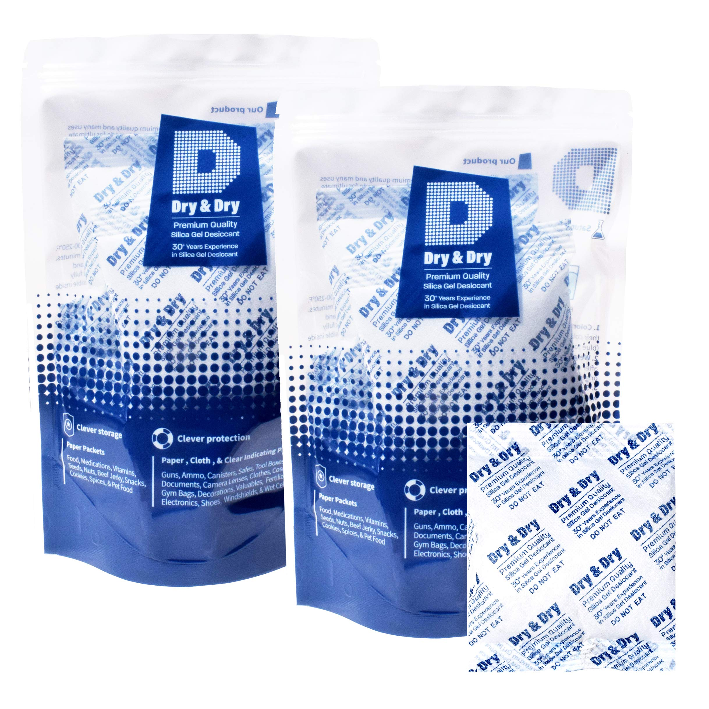 Dry & Dry 100 Gram [10 Packets] Premium Pure & Safe Silica Gel Desiccant Packeks Dehumidifier - Rechargeable Fabric Silica Packets for Moisture