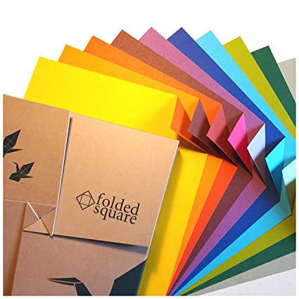 Folded Square Origami – Conjunto de Regalo de Papel para Papiroflexia, 100 Hojas, 15cm Cuadrado, Colección de Colores Complementarios