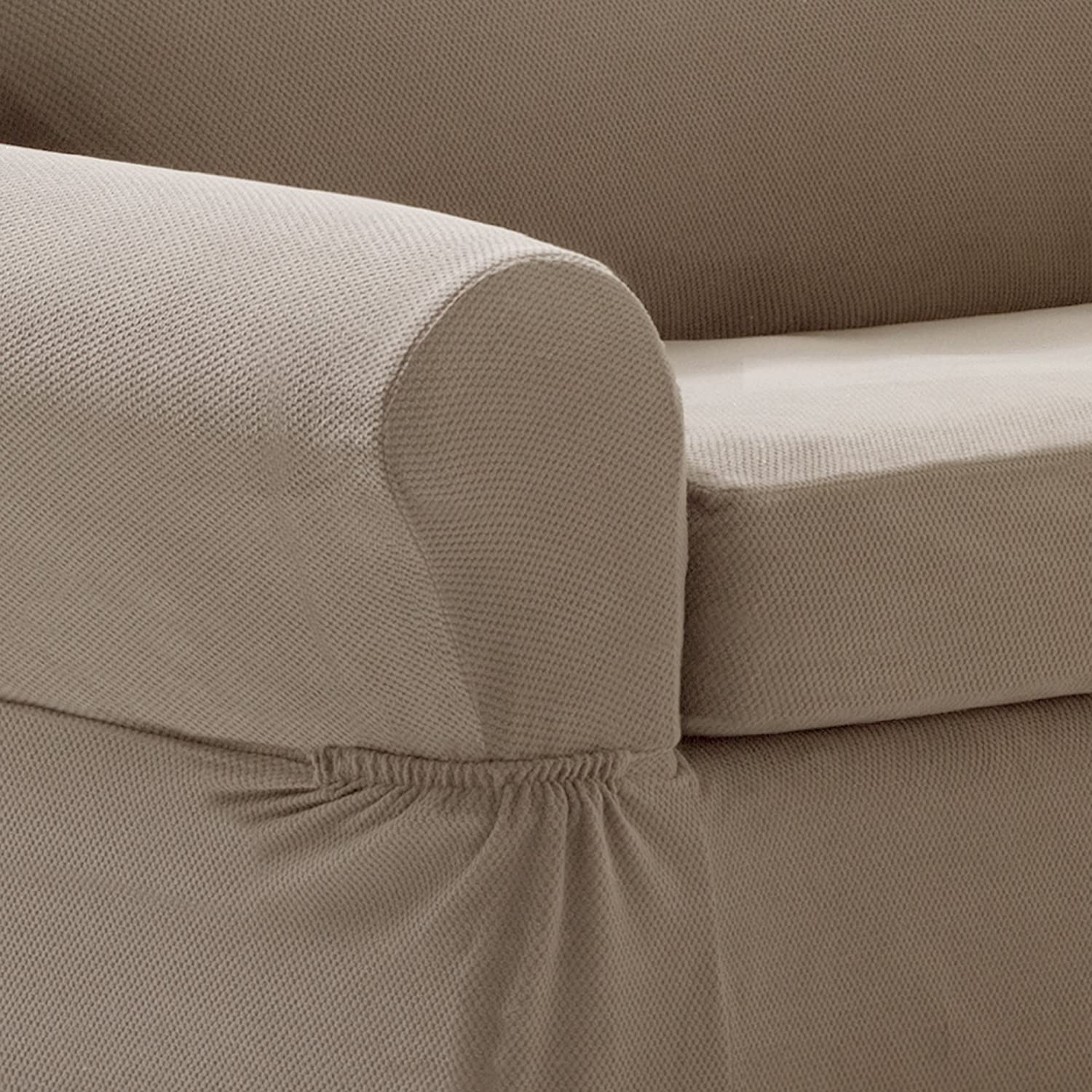 MAYTEX Pixel Ultra Soft Stretch 2 Piece Loveseat Furniture Cover Slipcover Chocolate Brown