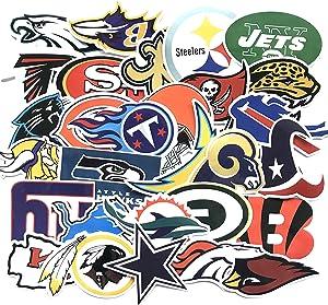 33pcs Football NFL Team Stickers Creative DIY Stickers Funny Decorative Cartoon for Cartoon PC Luggage Computer Notebook Phone Home Wall Garden Window Snowboard