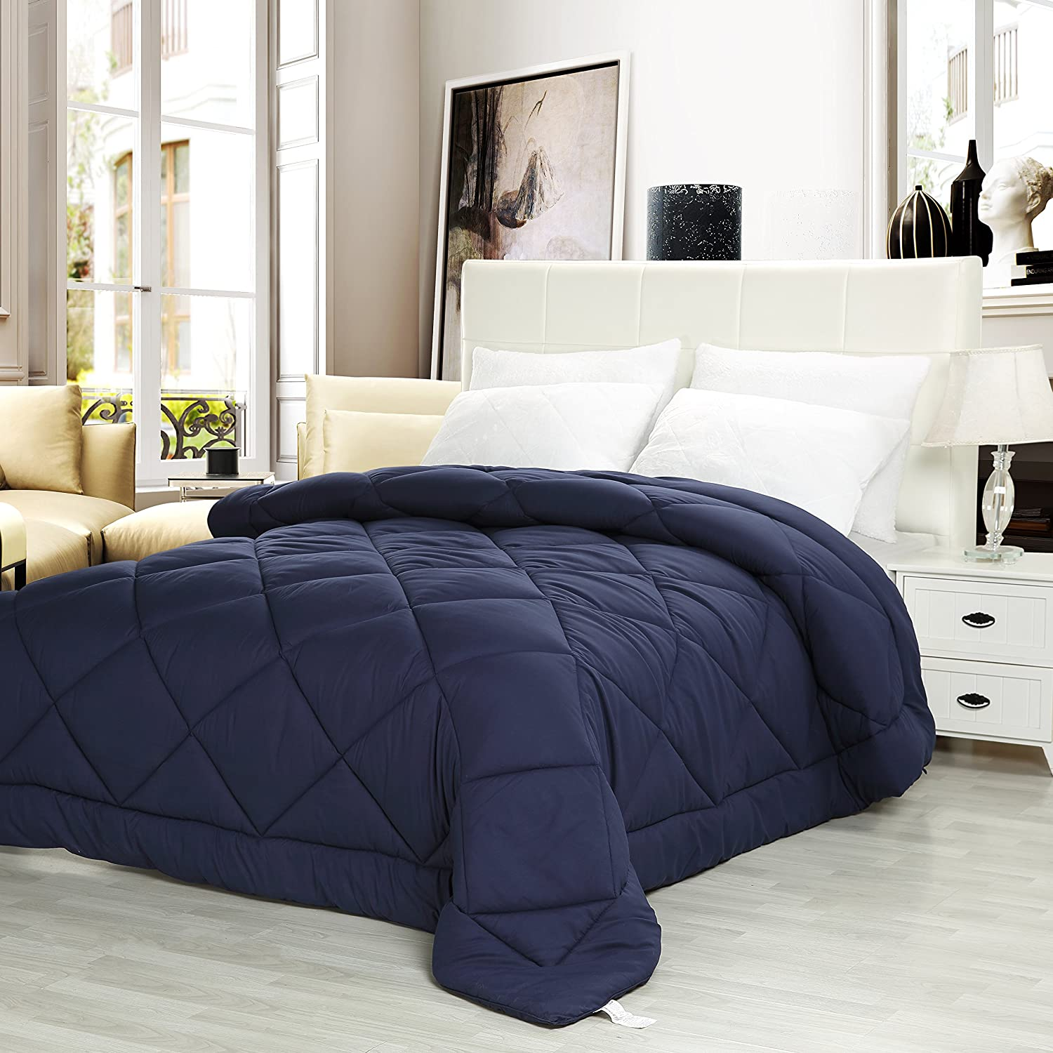 Utopia Bedding Comforter Duvet Insert (Queen) - Ultra Plush Hypoallergenic, Siliconized fiberfill, Down Alternative Comforter Navy