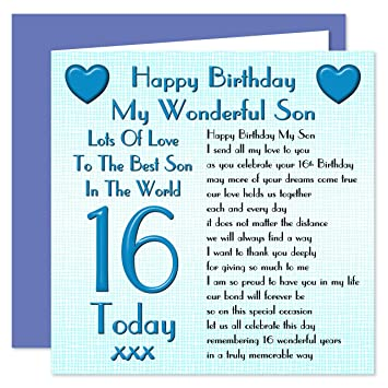 Son 16th Happy Birthday Card Lots Of Love To The Best Son In The