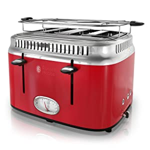 Russell Hobbs 4-Slice Retro Style Toaster, Red & Stainless Steel, TR9250RDR