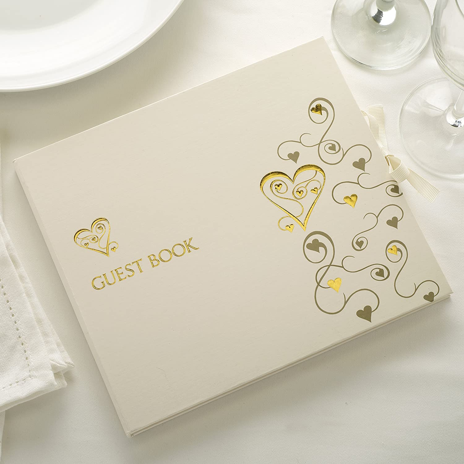 CSC Imports Guest book in Ivory with Gold Heart design