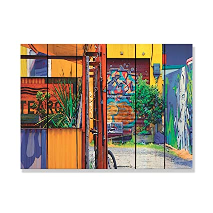 Amazon Com Large Solid Wood Wall Art Garden Graffiti 33 X24