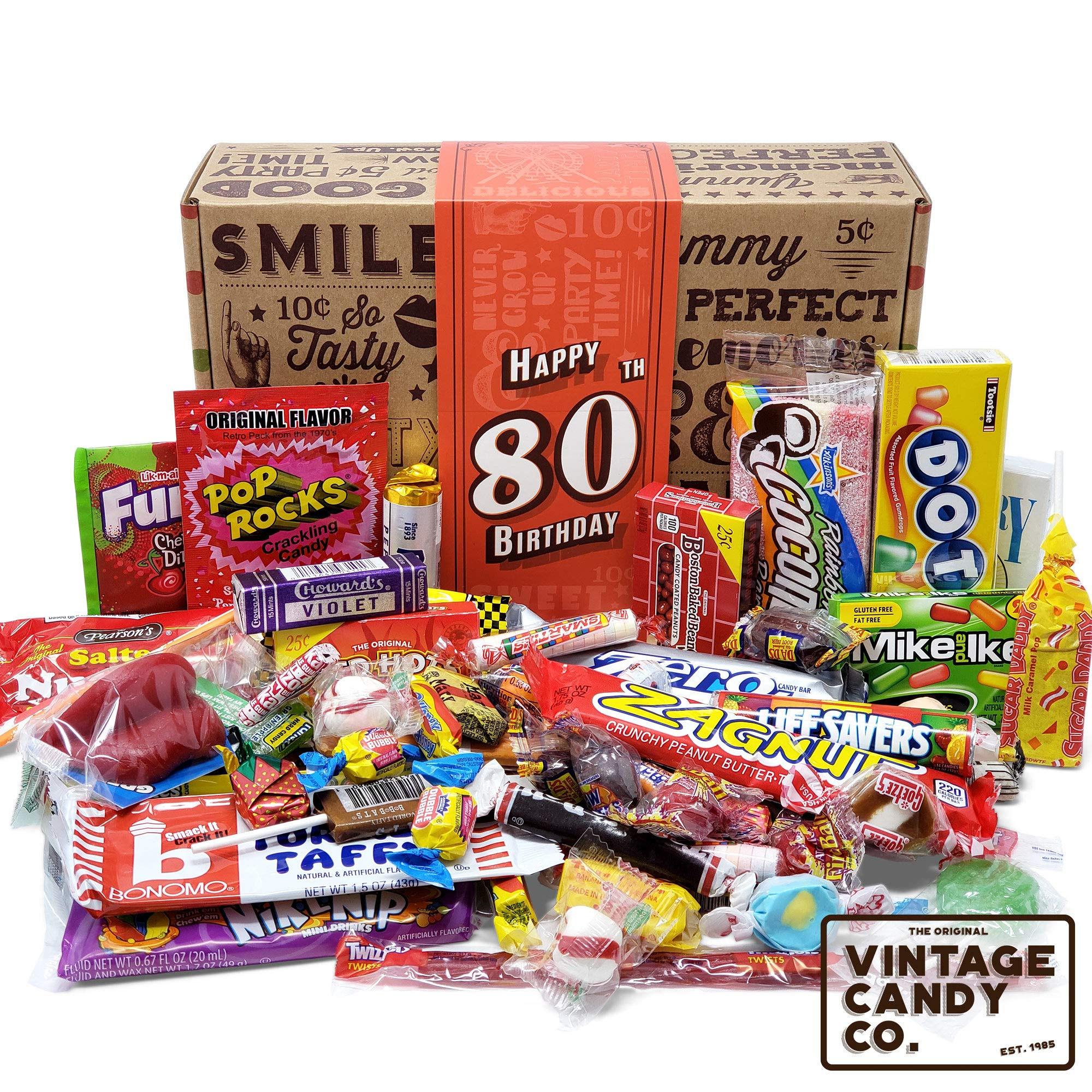 VINTAGE CANDY CO. 80TH BIRTHDAY RETRO CANDY GIFT BOX - 1939 Decade Nostalgic Childhood Candies - Fun Gag Gift Basket for Milestone EIGHTIETH Birthday - PERFECT For Man Or Woman Turning 80 Years Old by Vintage Candy Co.