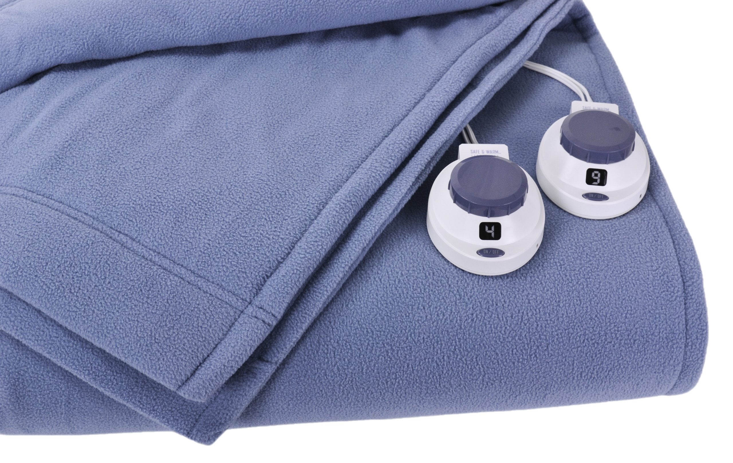 Soft Heat Luxury Micro-Fleece Low-Voltage Electric Heated Queen Size Blanket, Slate Blue by SoftHeat