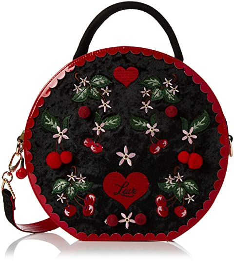 Irregular Choice - Cherry Love Bag, Bolsos de mano Mujer, Black, 8x28x29 cm