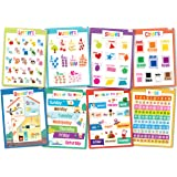 8 Educational Posters for Toddlers - Includes: Alphabet, Numbers, Shapes, Colors, Opposites, Days of the Week, Months of the Year, Learn to Count to 100 - Posters for Kids - Size 17x22