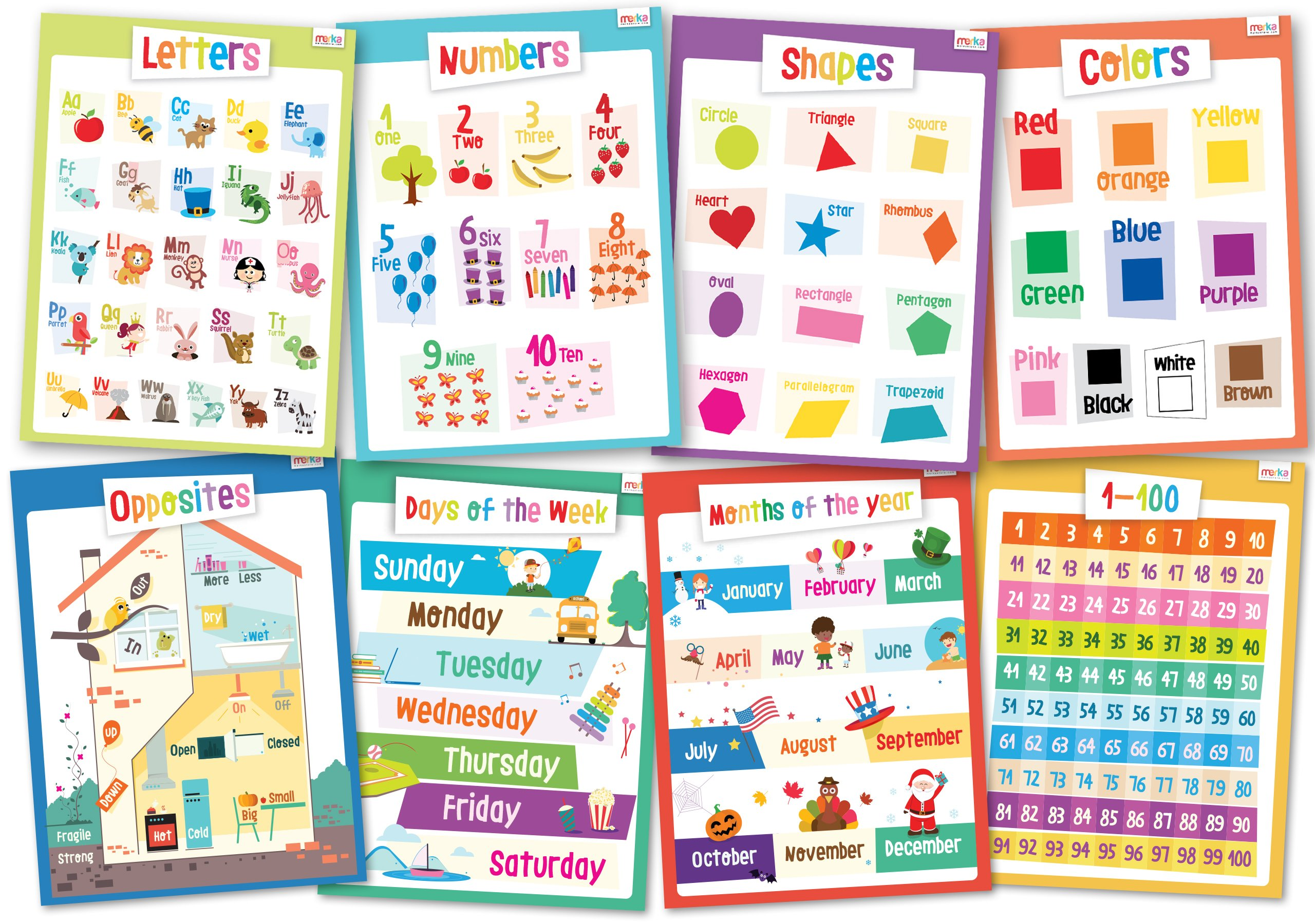 8 Educational Posters for Kids - Perfect for Kids Rooms or Schools Classrooms - Size 17x22 - Toddler Set