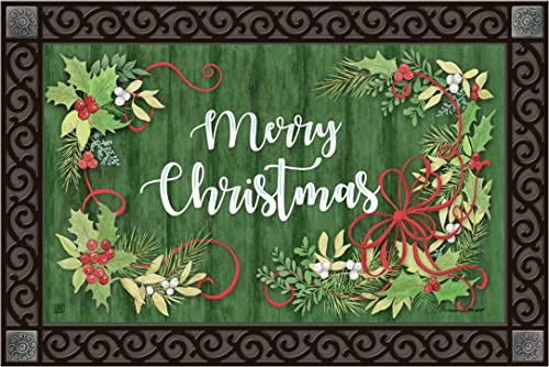 Studio M MatMates Winterberry Winter Christmas Decorative Floor Mat Indoor or Outdoor Doormat with Eco-Friendly Recycled Rubber Backing, 18 x 30 Inches