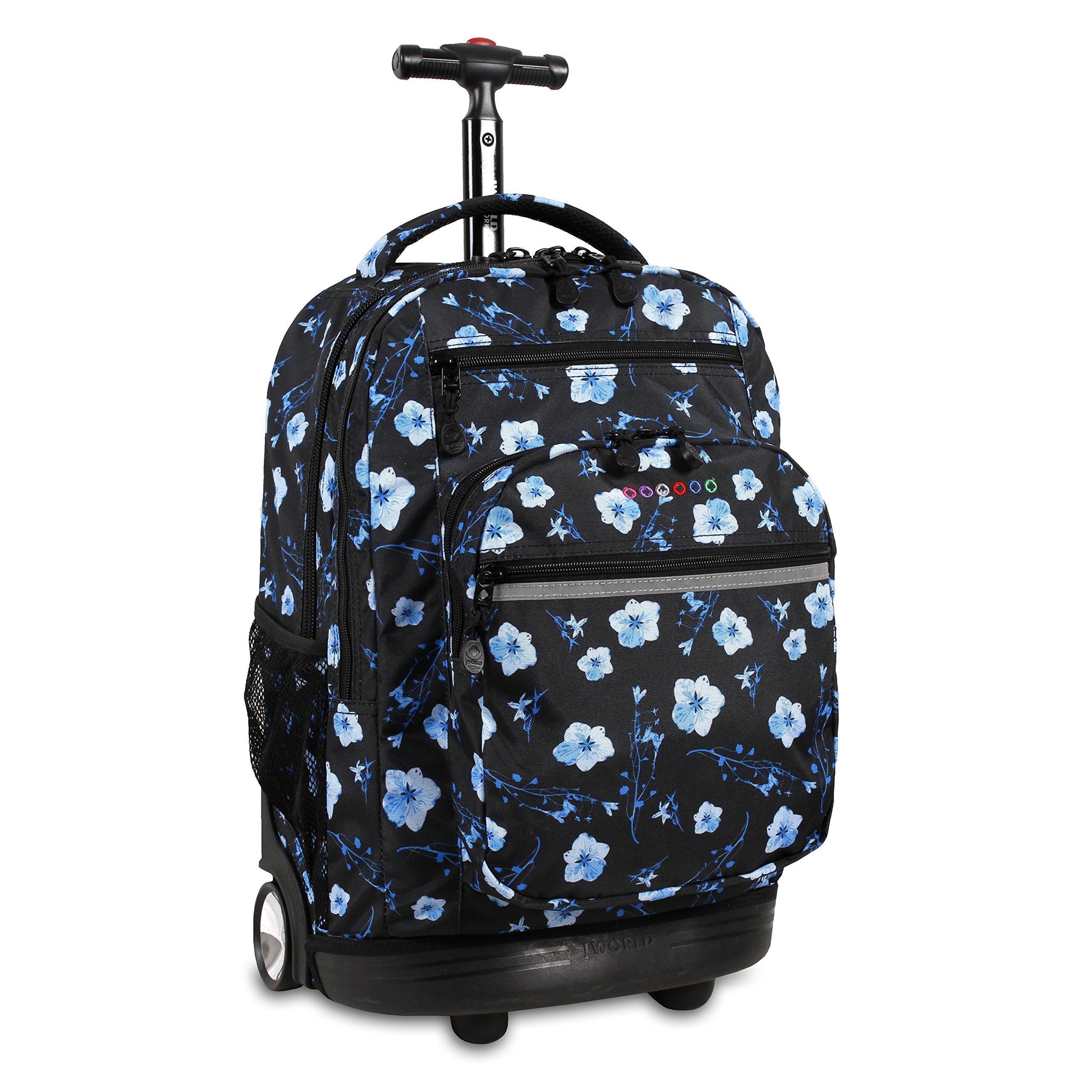 J World New York Sundance Rolling Backpack, Night Bloom, One Size