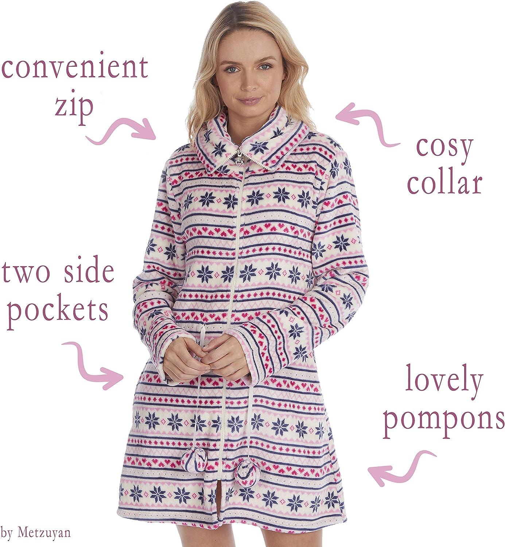 Forever Dreaming Ladies Fairisle Fleece Bed Jacket Zip Up House Coat Pyjama Top