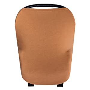 """Baby Car Seat Cover Canopy and Nursing Cover Multi-Use Stretchy 5 in 1 Gift""""Camel"""" by Copper Pearl"""