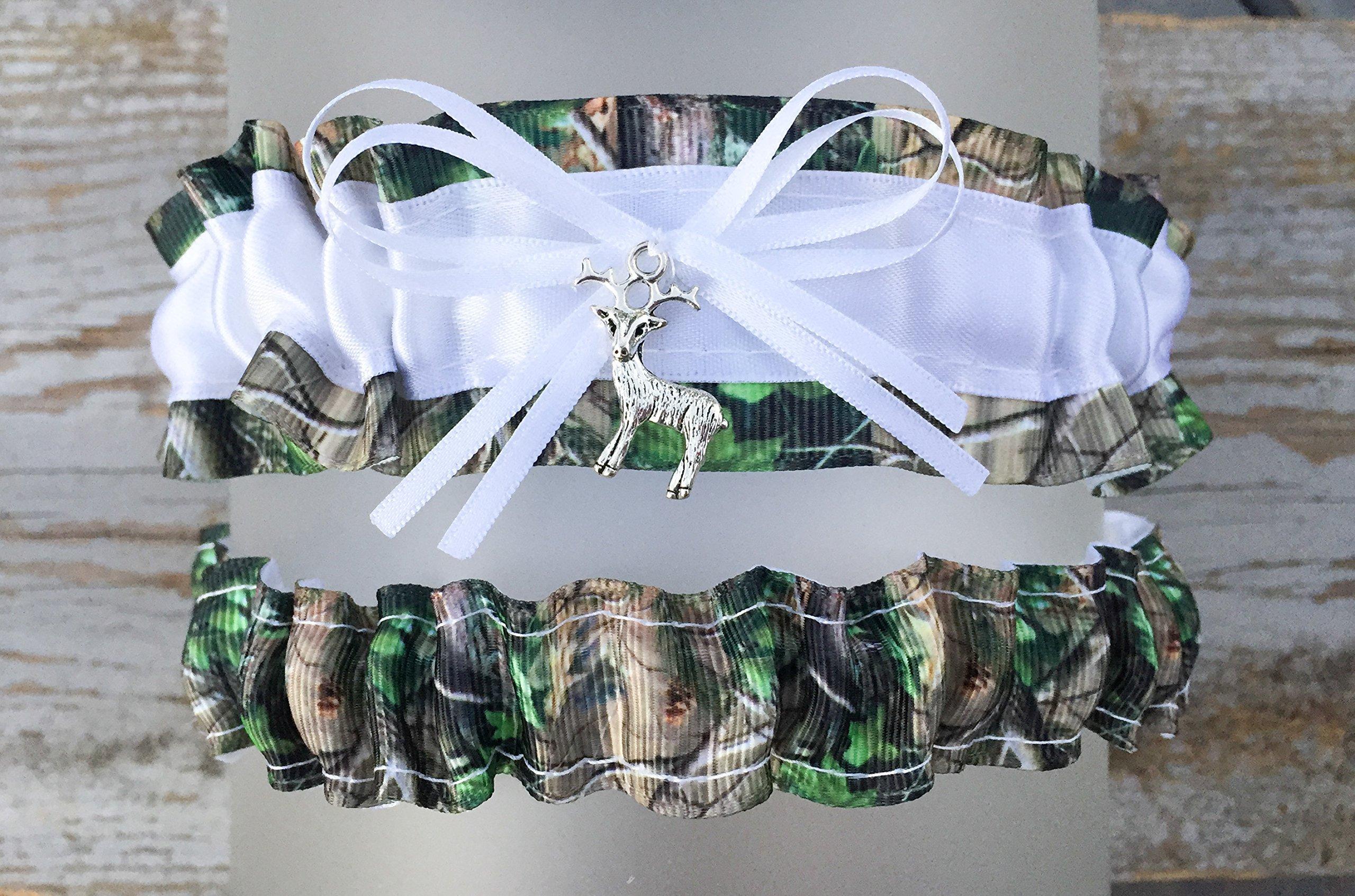 Sexy Camouflage White Satin Wedding Camo Bridal Garter SET - Deer Charm