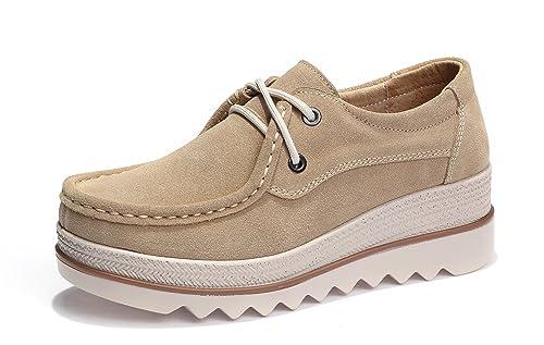Mocasines de Loafer, Mujer Plataforma Flat Casual Primavera Verano Zapatos de Cuña 5cm Zapatillas Khaki