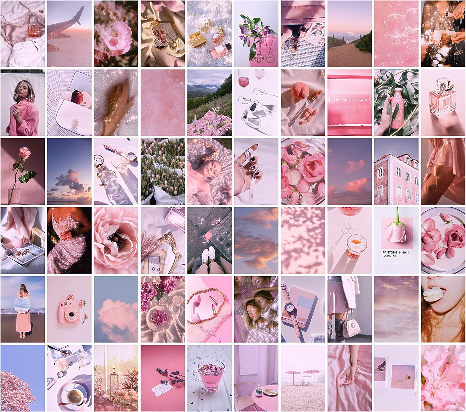 Cerise Design Pink Wall Collage - Pink Collage Kit for Wall Aesthetic, 60 set 4x6 prints, Wall Collage Kit Pink, Pink Photo Wall Collage Kit, Pink Wall Decor