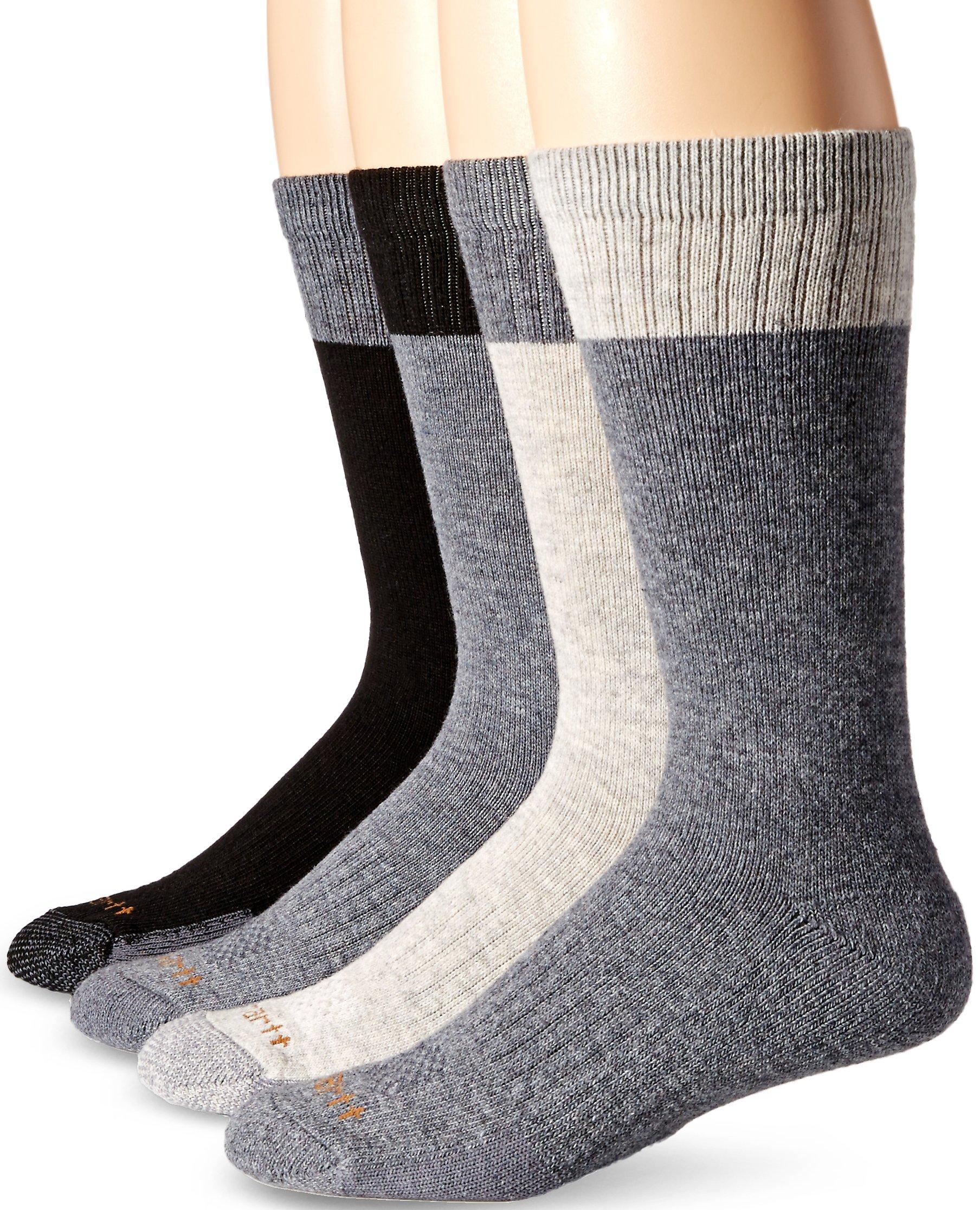 Carhartt Men's Comfort and Durability Crew Sock 4 Pack, Black, Sock Size: 10-13/Shoe Size:9-11