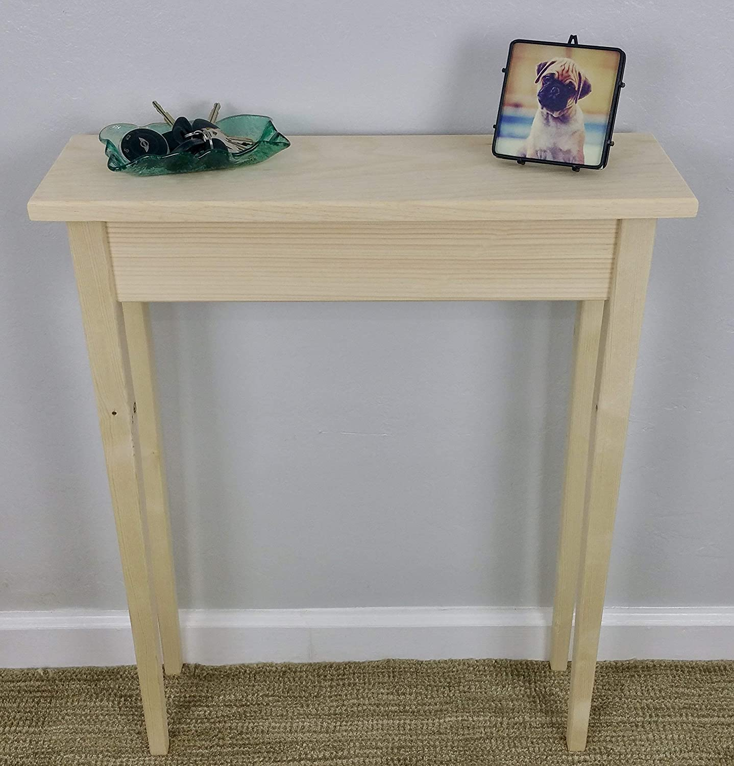 """24"""" Unfinished Pine Narrow Tapered Leg Wall, Foyer, Sofa, Console, Hall Table"""
