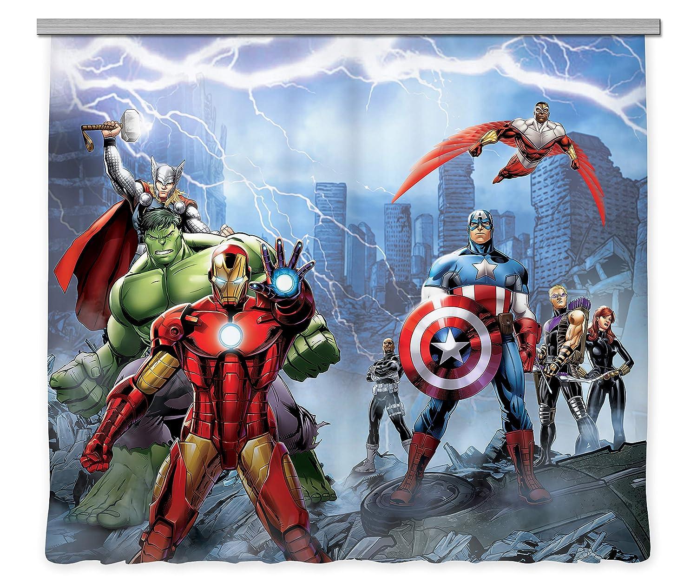 AG Design Avengers Marvel, Kinderzimmer Gardine Vorhang, 2 Teile, Stoff, Mehrfarbig, 0,1 x 280 x 245 cm