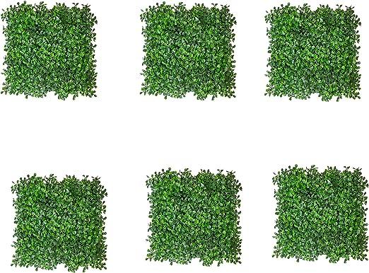 SATISFACTORY NATION - Juego de 6 alfombrillas de jardín verticales artificiales con hojas verdes mixtas para cubrir