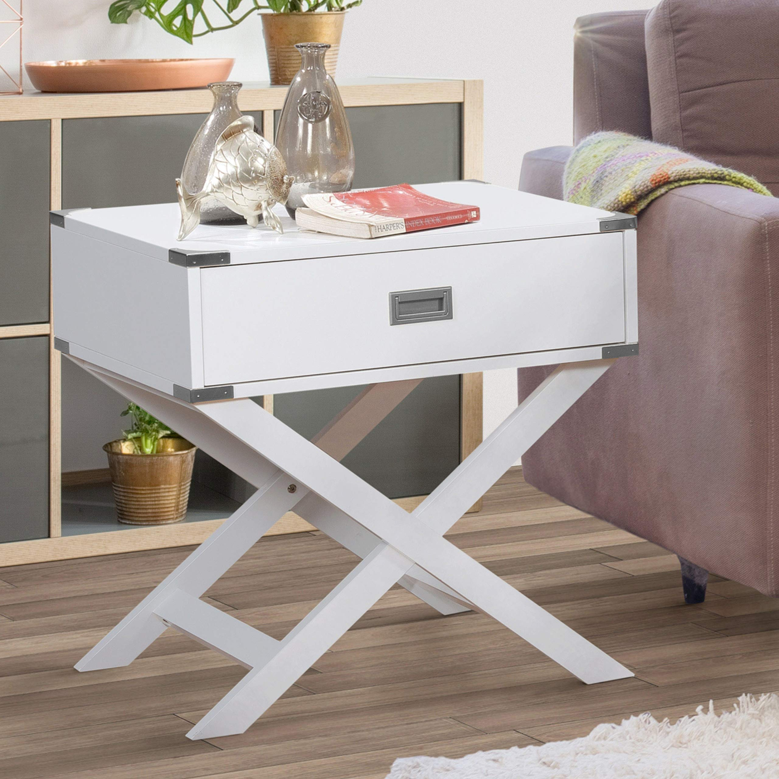 Best Master Furniture LD100 Lydia Accent End Table White