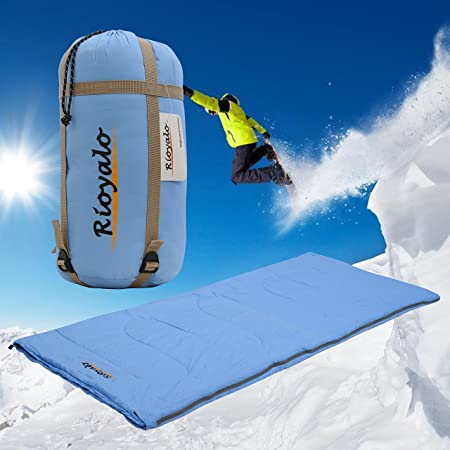 Sleeping Bag Envelope Mummy Lightweight Portable, Waterproof, Outdoor With Compression Sack Great for 3-4 Season Traveling, Camping, Hiking, Backpacking for Kids, Boys, Girls and Adults By Rioyalo