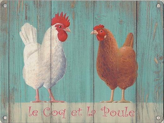 Nuevo 15 x 20 cm Le Coq Et La Poule gallo y gallina Vintage ...