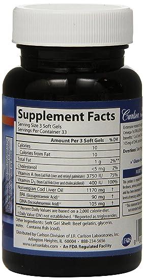 Carlson Labs - Magnesio noruego del aceite del hígado 390 de bacalao. - 100Cápsulas blandas: Amazon.es: Salud y cuidado personal