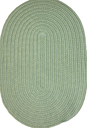Veranda Patio 5 x 8 Oval Braided Rug in Lime Green