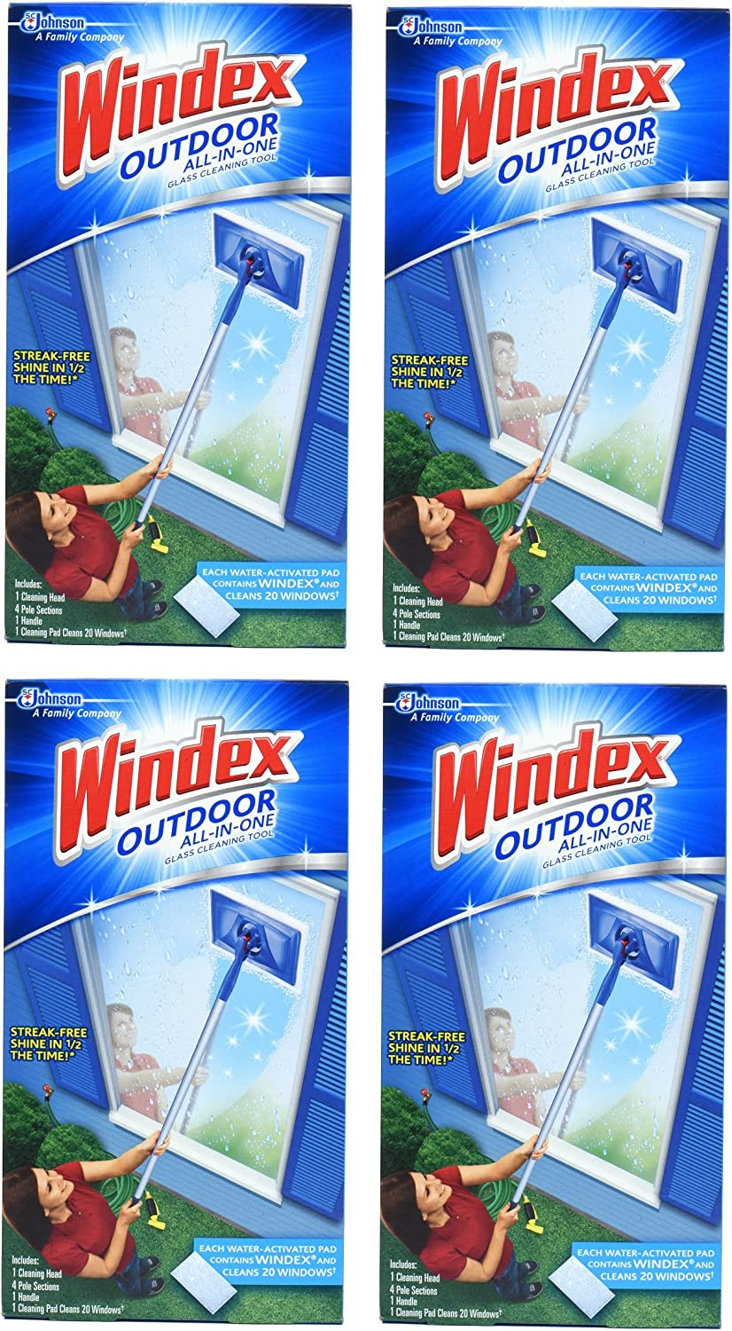 Windex Outdoor All-in One Glass Cleaning Tool Starter Kit (Packf of 4) Made in USA
