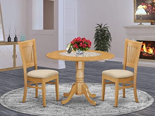 East West Furniture DLVA3-OAK-C 3-Pc dining room table set Oak finish