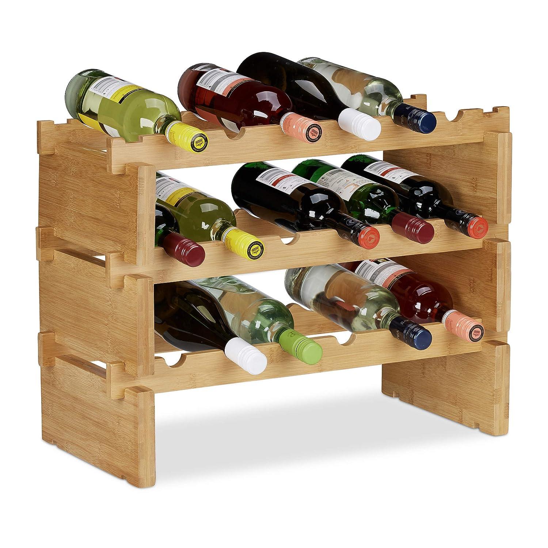 Relaxdays Scaffale Porta, Rastrelliera per Bottiglie di Vino, Cantinetta Portabottiglie, bambù, Marrone Chiaro, 2 Piani 10023410_347
