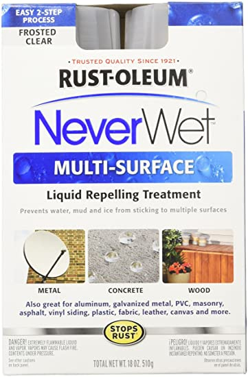 Rust-Oleum 274232 NeverWet Liquid Repelling Superhydrophobic Anti-wet Spray Kit (Frosted Clear - 510 Grams) Household Paints & Stains at amazon