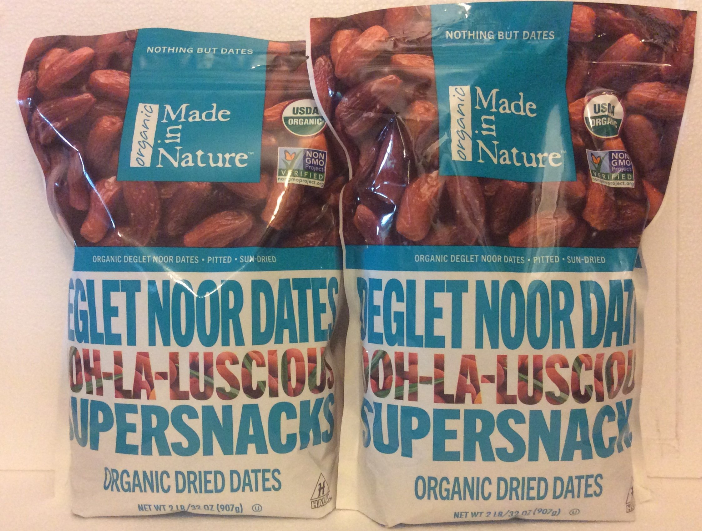 Made in Nature Organic Super Snacks Dried Dates (2 PACK) 32oz Reasealable Bag Each