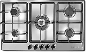 "Ancona AN-21449 34"" Gas Cooktop, Stainless Steel"