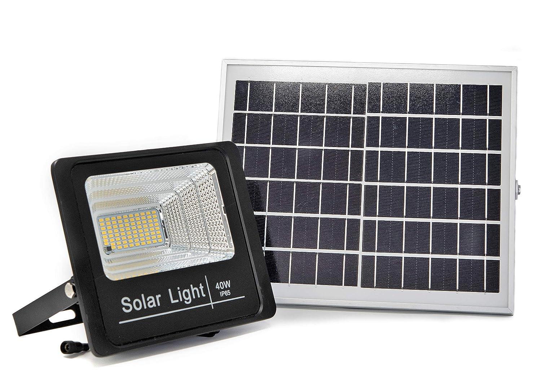 Jard/ín Patio Control Remoto Impermeable Terrazas Luz Solar Exterior Con Mando a Distancia 60W Exterior Foco Solar LED con Luz C/álida 2700K Hasta 15 HORAS de Luz Caseta