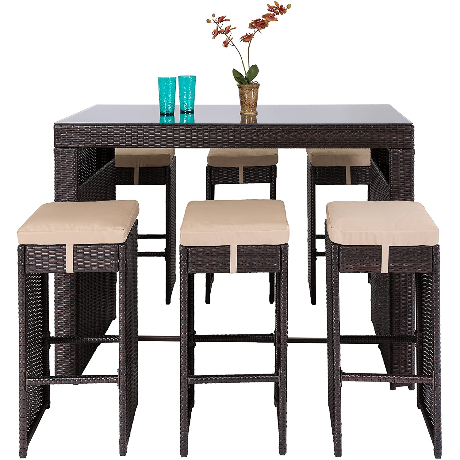 amazoncom best choice products 7pc rattan wicker barstool dining table set bar stool brown garden u0026 outdoor