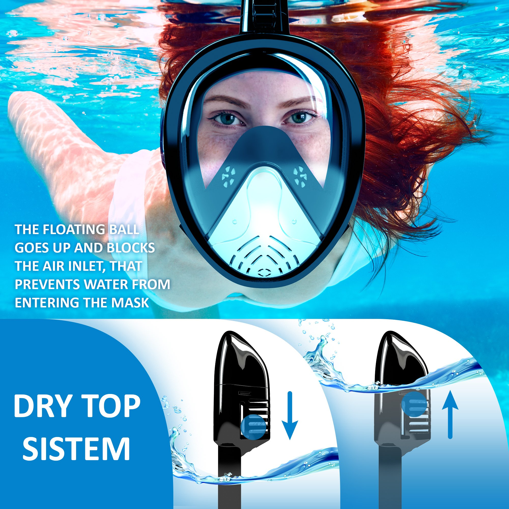 iClique Full Face Snorkel Mask - Scuba Diving Set - Snorkeling Gear for Men Women Kids (Black, S/M)