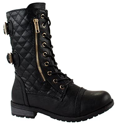 Women's Mango-79 Military Leatherette Dual Buckle Zipper Lace Up Mid Calf Boots