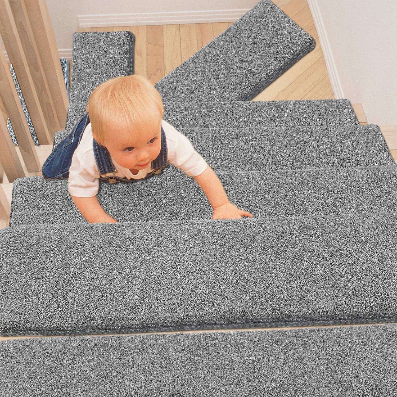 PURE ERA Bullnose Carpet Stair Treads Set of 14 Non-Slip Self Adhesive Ultra Plush Soft Pet Friendly Skid Resistant Tape Free Washable Reusable Light Grey 9.5