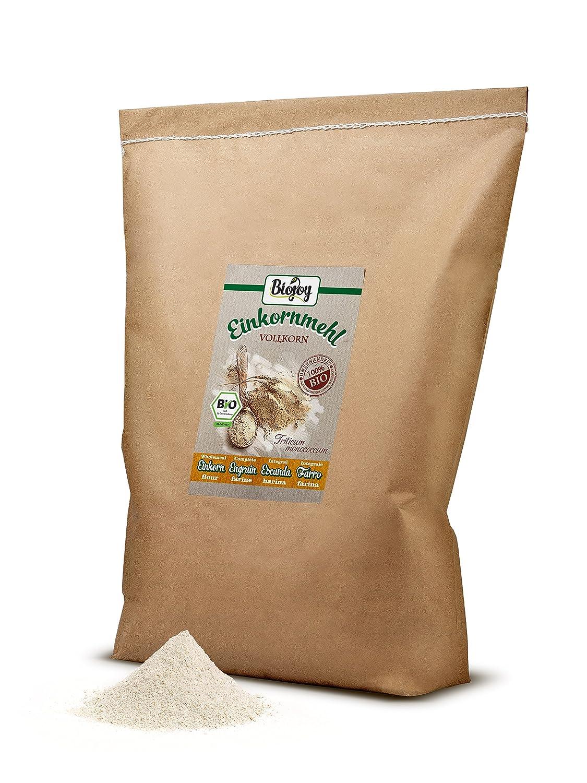 Harina integral de escanda BÍO | cultivo bío controlado | molida cuidadosamente en molino | bajo contenido de gluten| Einkorn Triticum monococcum (10 kg): ...
