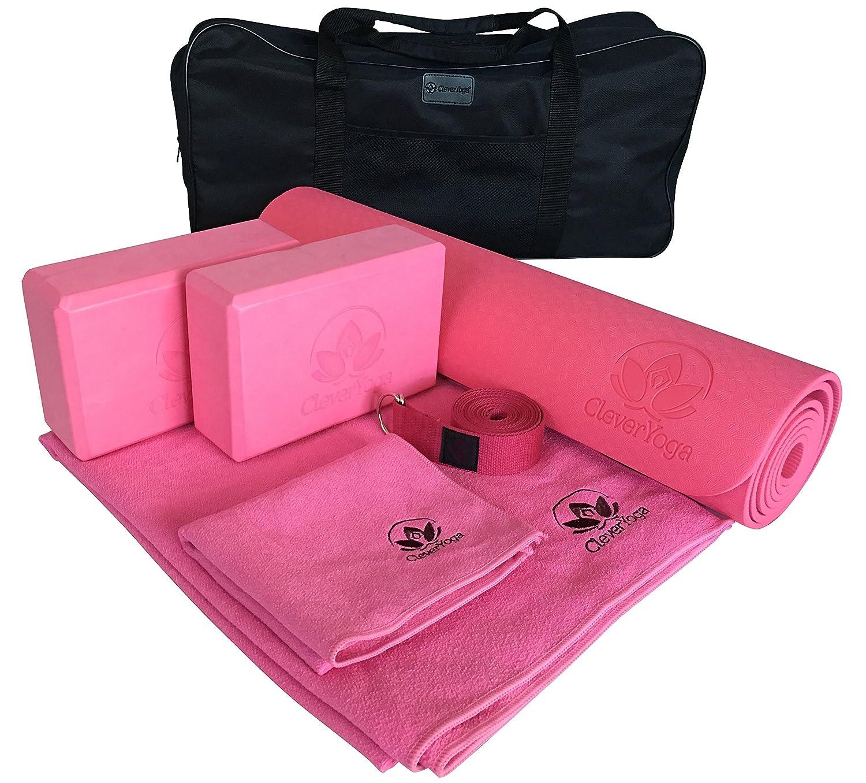 Completeヨガキットセット7ピースヨガ練習マット、2本ヨガブロックヨガ、ストラップ、ヨガマットタオルヨガ、ハンドタオルand Free Carryケース – Perfect Gift for Yogis B01GOIU1GY  ピンク